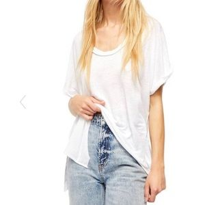 NWT FREE PEOPLE WHITE OVERSIZED TEE